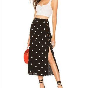 Free People retro love polka dot midi skirt